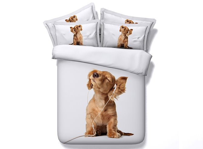 Puppy Listening to Music Digital Printing 5-Piece Comforter Sets