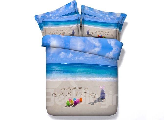 Leisurely Beach Scenery Digital Printing 5-Piece Comforter Sets