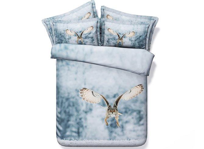 Feral Flying Owl Digital Printing 5-Piece Comforter Sets