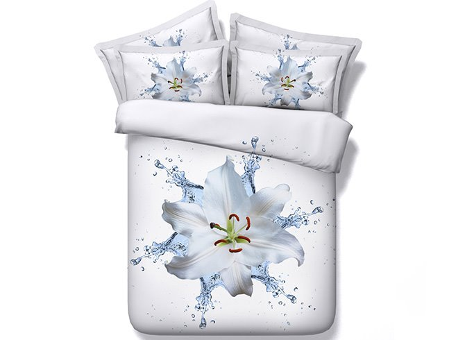 Elegant Dewy Lily Digital Printing White 5-Piece Comforter Sets