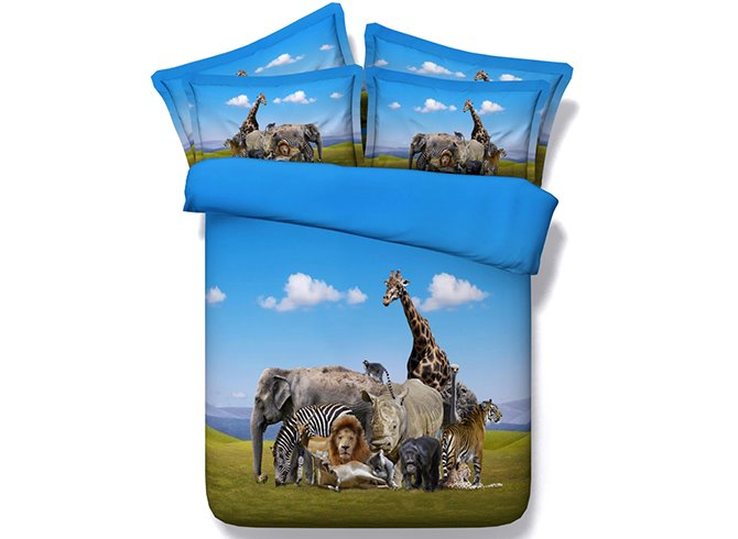 Cute Animals Digital Printing 5-Piece Comforter Sets