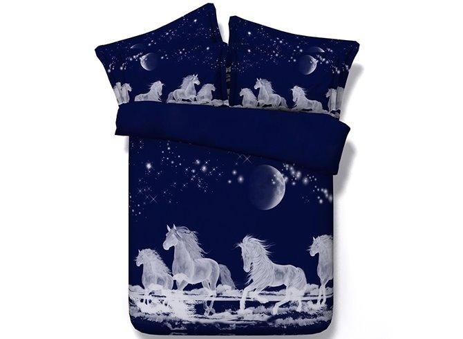 White Horses Digital Printing Dark Blue 5-Piece Comforter Sets