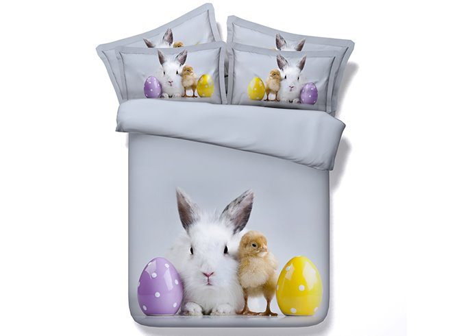 Lovely Rabbit and Chick Digital Printing 4-Piece Gray Duvet Cover Sets