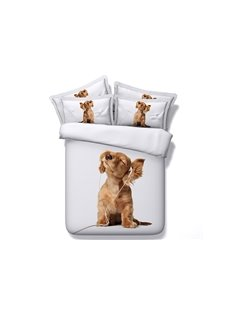 Lovely Puppy Listening to Music Digital Printing 4-Piece White Duvet Cover Sets