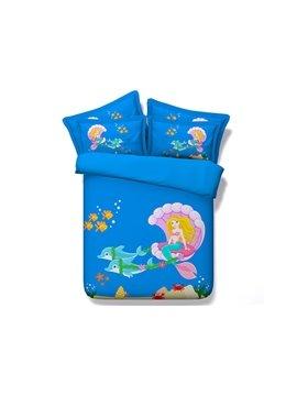 Cartoon Mermaid Digital Printing 4-Piece Duvet Cover Sets