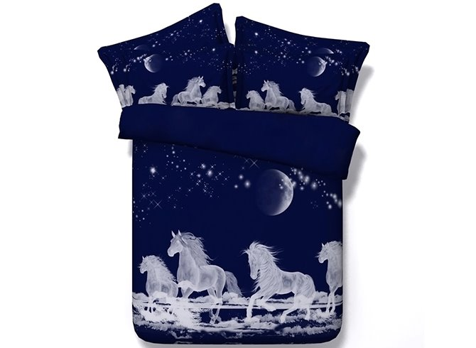 White Horses Digital Printing Dark Blue 4-Piece Duvet Cover Sets