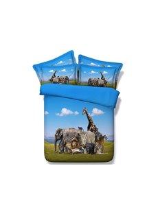 Animals Digital Printing 4-Piece Duvet Cover Sets