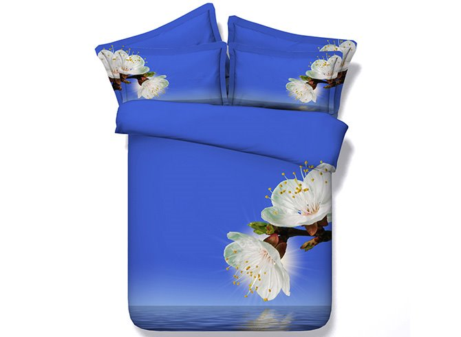 Pear Blossom Digital Printing Blue 4-Piece Duvet Cover Sets