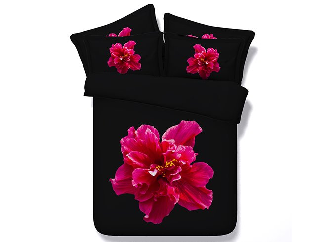 Splendid Red Flower Digital Printing Black 4-Piece Duvet Cover Sets