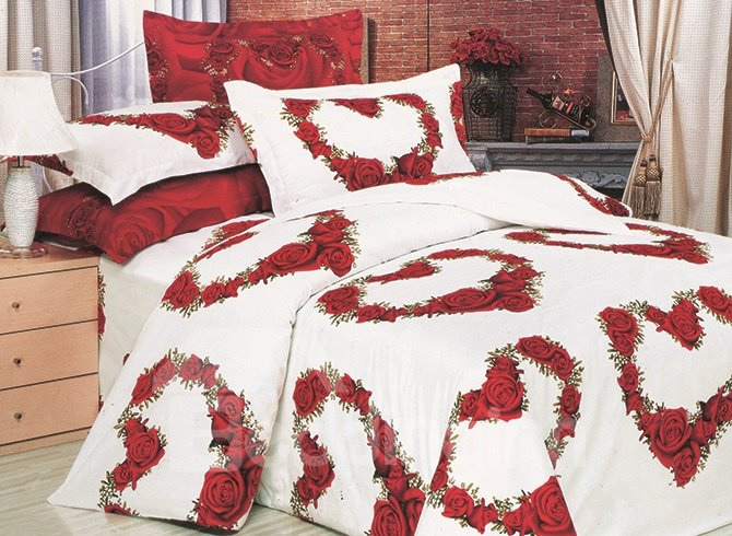 Heart Shaped Roses Printing White 4-Piece Duvet Cover Sets