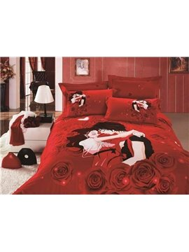 Sweet Lovers and Red Roses Printing 4-Piece Duvet Cover Sets