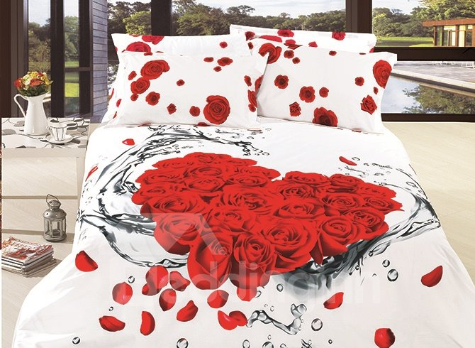 Dewy Red Roses and Petals Printing 4-Piece Duvet Cover Sets