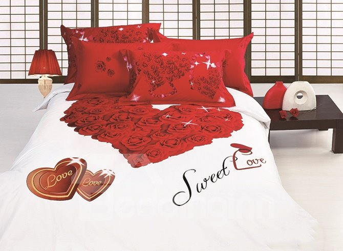 Romantic Heart Shaped Roses Printing 4-Piece Cotton Duvet Cover Sets