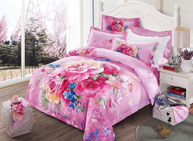 Bright Peonies Printing 100% Cotton 4 Pieces Duvet Cover Sets