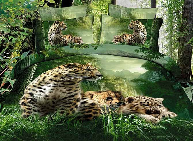Leopards in Forest Printing 4-Piece Cotton Duvet Cover Sets