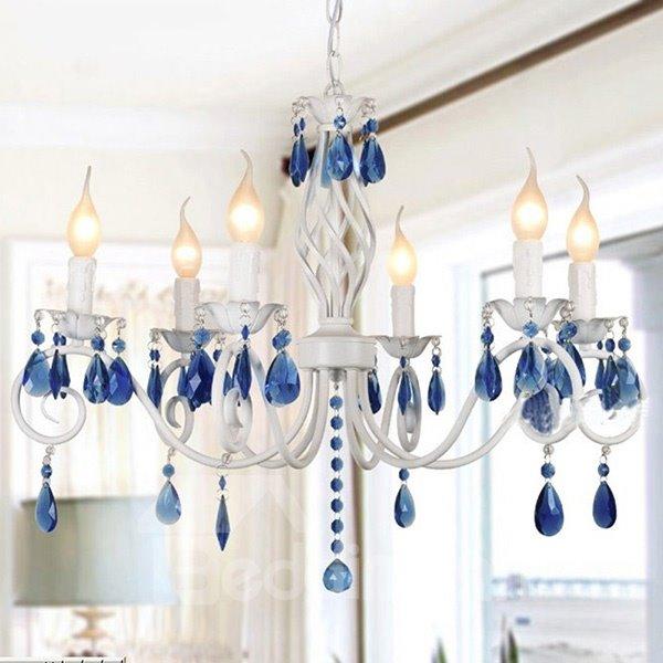 Stunning Mediterranean Style 8-Head Living Room Bedroom Crystal Chandelier