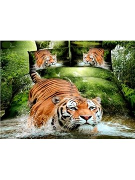 Powerful Tiger in Water Printing Cotton 2-Piece Pillow Cases