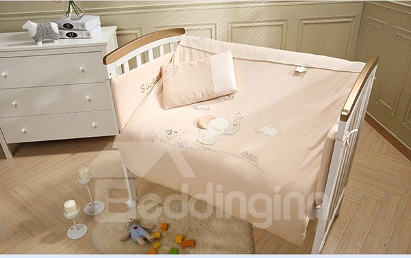 Happy Elephant 7-Piece Organic Cotton Crib Bedding Sets