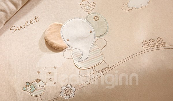 Happy Elephant 7-Piece Organic Cotton Crib Bedding Sets