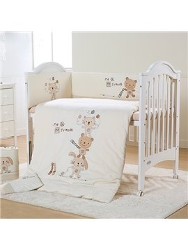 Cute Animals Playing Baseball Pattern 7-Piece Organic Cotton Crib Bedding Sets