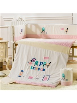 Cute Animals and Letters Pattern 100% Natural Organic Cotton Crib Bedding Set