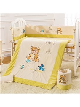 Bear' s Party 100% Natural Organic Cotton Crib Bedding Set