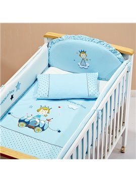 Happy Prince Bright Blue 100% Cotton Crib Bedding Set