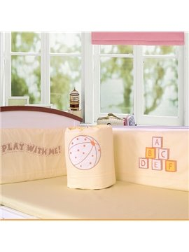 Play with Me Baseball and Letters Print Cotton 6-Piece Crib Bedding Set