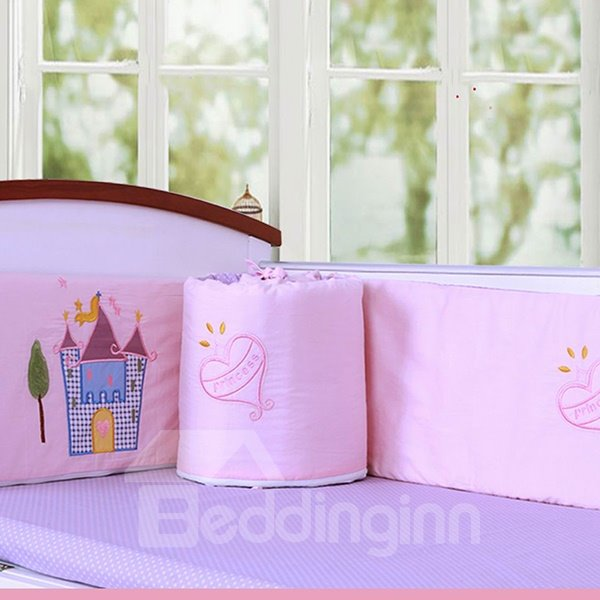 Princess Theme Castle and Heart Shape Pattern Cotton 6-Piece Crib Bedding Set