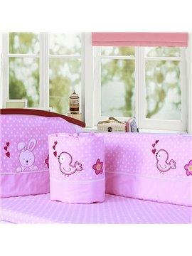 Lovely Rabbit and Bird Pattern Cotton 6-Piece Crib Bedding Set