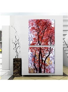 Fantastic Modern Red Leaf Tree 2-Panel Canvas Wall Art Prints