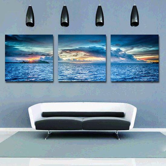Fantastic Sunset in Sea on the Horizon 3-Panel Canvas Wall Art Prints