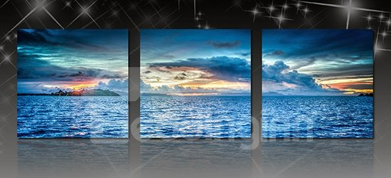 Fantastic Sunset in Sea on the Horizon 3-Panel Canvas Wall Art Prints
