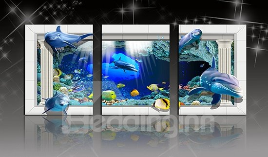 Creative Nursery Kidsroom Underwater World 3-Panel Canvas Wall Art Prints