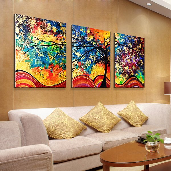 Fantastic modern oil painting style abstract tree 3 panel for Wall artwork paintings
