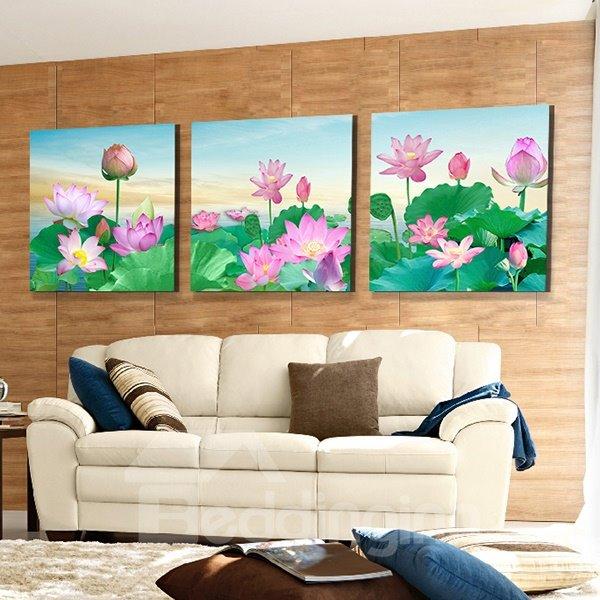 Stunning Pink Lotus and Green Lilypad 3-Panel Canvas Wall Art Prints