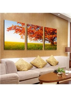 Magnificent Red Leaf Tree 3-Panel Canvas Wall Art Prints