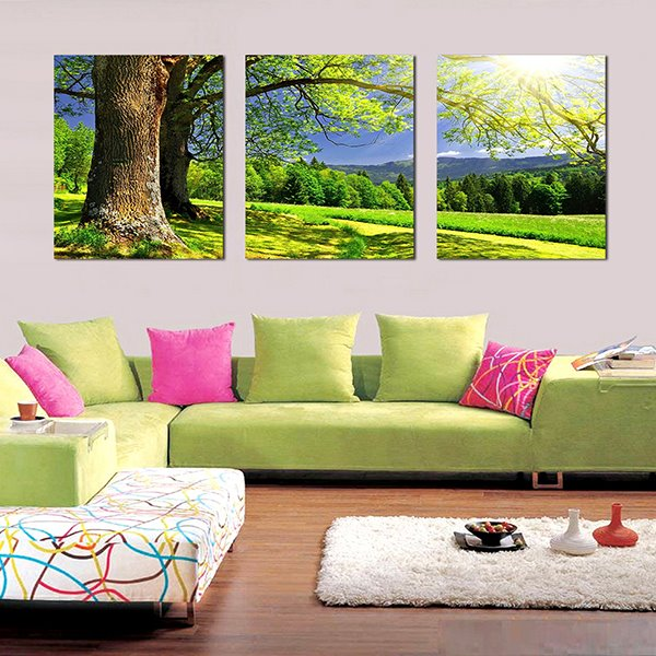 Wonderful Tree in the Green Field 3-Panel Canvas Wall Art Prints