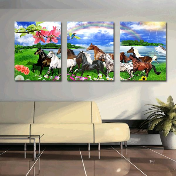 Amazing Horses in the Field 3-Panel Canvas Wall Art Prints