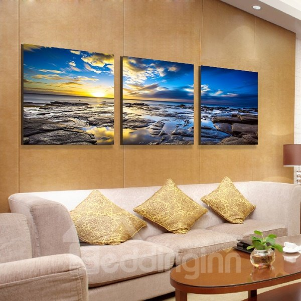 Breath-Taking Sunrise Shining 3-Panel Canvas Wall Art Prints