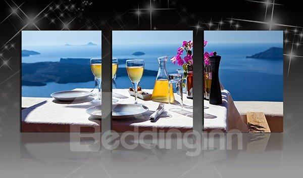 Wonderful Dining at the Seaside 3-Panel Canvas Wall Art Prints