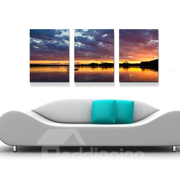 Marvelous Sunset at Dusk 3-Panel Canvas Wall Art Prints