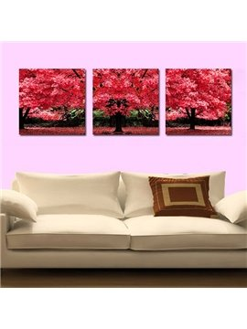 Marvelous Giant Red Leaf Tree 3-Panel Canvas Wall Art Prints