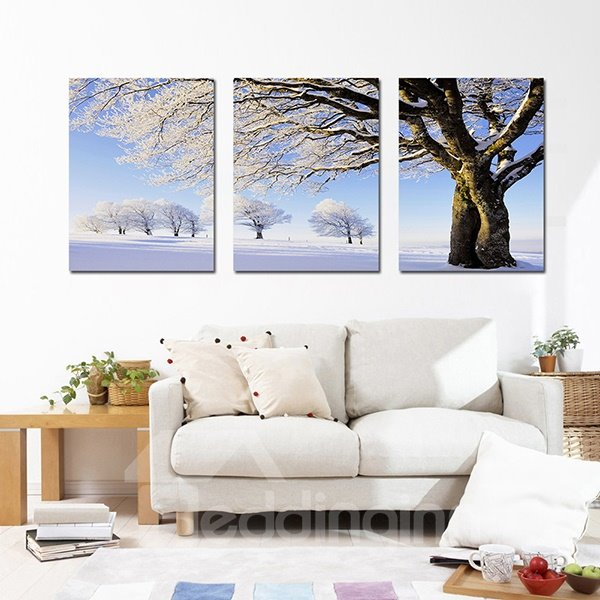 Unique Snow Covered Tree in Winter 3-Panel Canvas Wall Art Prints