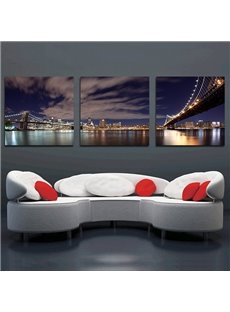 Wonderful Metropolis Night 3-Panel Canvas Wall Art Prints