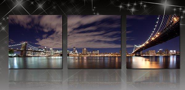 Wonderful Metropolis Night 3-Panel Canvas Wall Art Prints