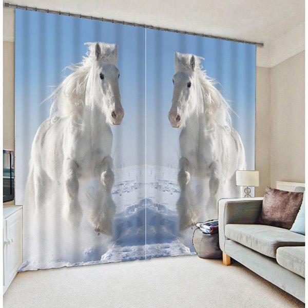 Elegant White Leaping Horses Printing 3D Blackout Curtain