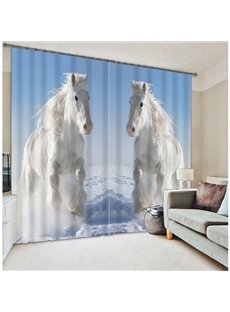 Elegant White Leaping Horses Printing 3D Blackout Curtain