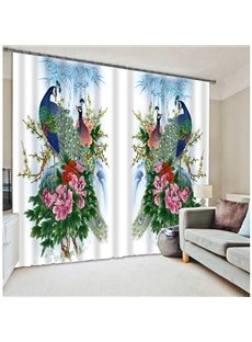 Oriental Traditional Peacock with Blossom Printing 3D Curtain