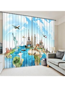 Unique World Traveller Mapping Printing 3D Blackout Curtain